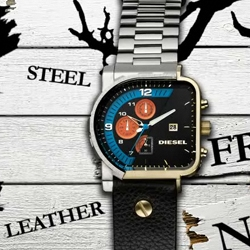 Your eyes are not playing tricks on you, This is the Diesel D24160 watch!  A Frankenstein timepiece cross-breeding two entirely different watches into one. Love the half leather strap, half metal strap.