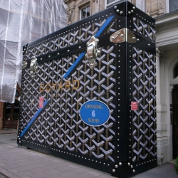 The wrapping of the soon to be opened new Goyard store in London looks great.