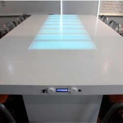 W+K's Timetable, displays the length of meetings through ten illuminated RGB LED panels.
