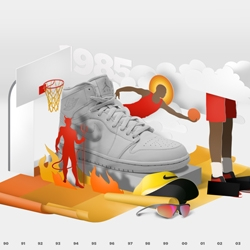 "Brilliant website that documents Nike Jordan ""History of flight"" – from 85 until present – with a cool graphic for each year."