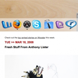 Wooster Collective's latest masthead makes great use of the Mac OS X Dock!