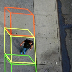Aakash Nihalani does some impressive work just using neon colored tape. To everyone out there who hates graffiti becauses it is destructive to public places.