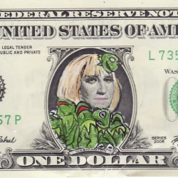 After noticing her bizarre resemblance to George Washington, artist Craig Gleason created a series of 'Gaga Dollars' that combine the wacky fashion choices of Lady Gaga with our first president's image on the dollar bill.