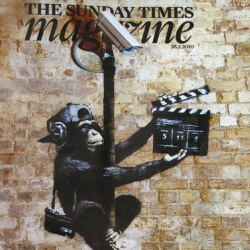 Banksy created the cover for The Sunday Times. Along comes a video of him creating the cover to proof that it is authentic.