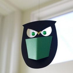 Design Public has these Flendsted Owl mobiles... they feel like nightmares waiting to happen.