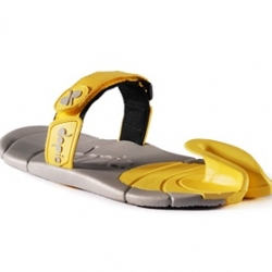 The Dopie is a new style in light footwear, a single shape sole to protect the foot that folds up between the toes to provide control.