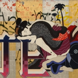 Japanese American graffiti artist, Gajin Fujita's paintings are elaborate fusions of contemporary urban street life and traditional Japanese iconography.