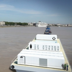 2:pm Architecture has designed a floating shipping container pool that purifies river water!