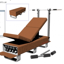 "Life Fitness challenged designer to come up with an urban fitness machine... and gprero design  won the competition by having it disappear into an Ottoman-Bench concept dubbed the ""Otto-Bench"""
