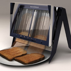 The Nahamer T450 toaster concept by Rob Penny allows your finished slices to glide gently down on your plate as opposed to popping up. Simple and genius!