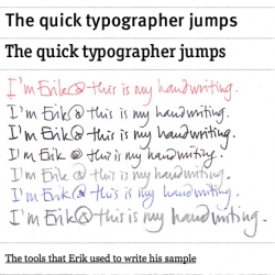 Handwritten Typographers ~ great article showing handwriting samples from some legendary typographers