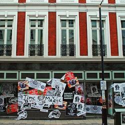 Artist Jamie Reid designed the new windows of Dover Street Market London.