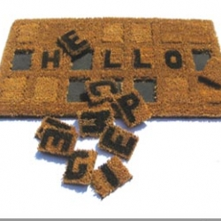 "Designer Jeni Rodger came up with a customizable welcome mat based on the ""scrabble"" principle. Could have endless fun greeting your guests!"