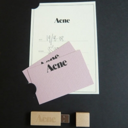 "ACNE's wooden usb stick ~ came in a ""stylish box containing all the relevant info"" from the Acne Sales Rep to the Normann Copenhagen Fashion Buyer"