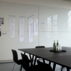 Totally lusting after Glass Magnetic Memo Boards!!! I want walls of these around a giant desk...