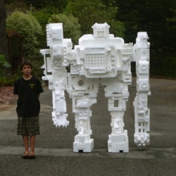 Kudos to tech guru kevin kelly for taking inspiration from Michael Salter's styrobots and making his own with his son from 5 years worth of styrofoam!
