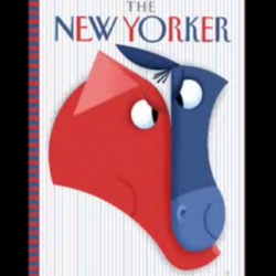 Bob Staake designs the most recent cover of The New Yorker, using Mac OS7 and Photoshop 3.0, both released in 1991.