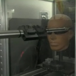 UPDATED! I just found a video of Bryan demoing all of the tests in the Oakley O Lab! It really is even cooler to see it in video ... shooting balls at glasses on dummy heads at high velocities, playing with lasers, etc.