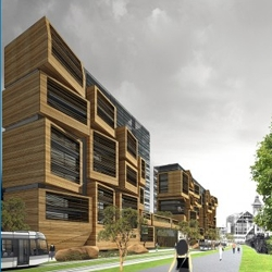 OFIS arhitekti just won the competition for a student apartment complex in Paris, France. Nice use of wood to build a random facade.