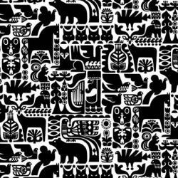 the 'kanteleen kutsu' fabric by sanna annukka depics forest animals - birds squirrels, bears ~ part of the Marimekko 09 collection!