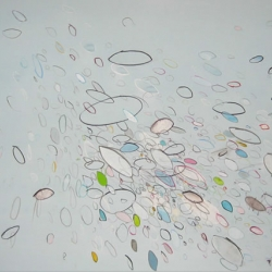 Mark Jessett makes beautiful drawings and paintings of loose, elliptical forms drawn in groups.
