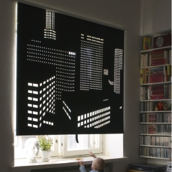 A very cool black out curtain called Better View gives the illusion of a city scape outside your window . Designed by Elina Aalto for SAUMA. Available in black or grey and from 2 different images.