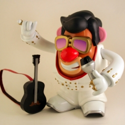 In celebration of Elvis Week 2010, Hasbro has come together with Elvis Presley Enterprises and PPW Toys to release this special edition Mr. Potato Head Elvis.