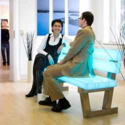 The frellstedt lightbench looks great both indoors and out and is available in just about every color in the rainbow.