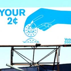 Artist Geoff McFetridge designed a new billboard in LA. Check it out on LaBrea!