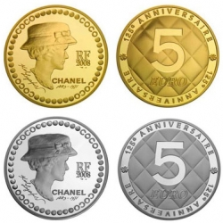For the 125th anniversary of Coco Chanel, Karl Lagerfeld designed a silver and a gold 5 Euro coin that will go on sale in December.