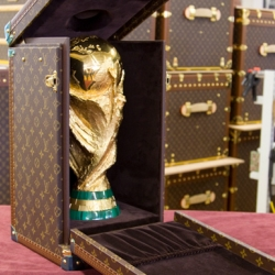 Louis Vuitton has handcrafted the travel case for the FIFA Worldcup Trophy in their ateliers in Paris. Check out the final product and the process.