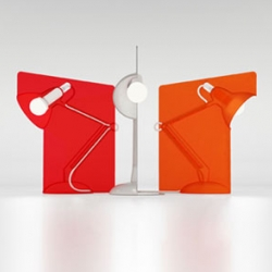 the Anglepoise® Fifty™, designed by Anthony Dickens is a polycarbonate lamp in a fixed position to perfectly light the work space whilst creating an ambient work environment. Available Nov. in clear, red and orange.
