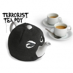 The Terrorist Tea Pot by Jackie Piper is hilaious! A tea pot with evil eyes on it has a ski mask type cozy making it a menace on your table!