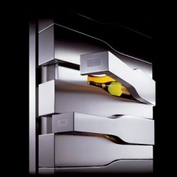 "Veuve Clicquot & Porsche Design have launched the ""Vertical Limit"", a handmade stainless steel cabinet that houses 12 vintages of champagne. Each compartment is lit and 1temperature maintained. Only 15 made. $70k!!"