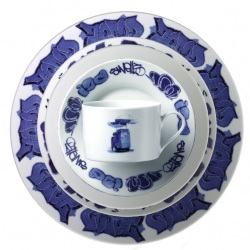 Ross Lovegrove & Repucci have created this wonderful dinnerware set that is a Gritty New York Graffitti Version of classic Blue Delft Porcelain Dinnerware. Sold in sets.
