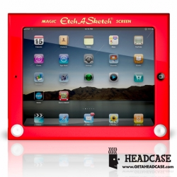 The officially licensed Etch A Sketch® iPad case by Headcase is made of impact resistant plastic, has rubber feet,  a retractable kick stand, and all the necessary iPad switches, ports, and buttons!