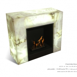 Albatros Design of France makes illuminated marble furnishings from fireplaces, tables, cubes, consoles to totem lamps with your choice of marble.