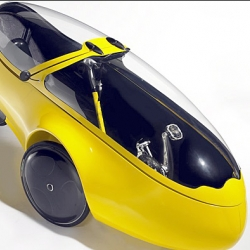 "The go-one³ is a ""Human Powered Vehicle"" [HPV], complete with headlight, backlight and turn signals. By the end of this year these electrical conveniences will be expanded to include an optional 500 Watt electric assist motor. Designed by Michael Goretsky"