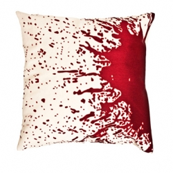 the most intense pillow i've seen. hand-embroidered blood splatter.