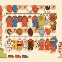 Fun Mario based print @ Gallery 1988. Makes you appreciate what a snappy dresser Mario really is!