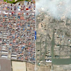 Interactive before-and-after satellite photos show the shocking destruction wrecked by the tsunami on 11 March 2011, in Japan. [Editor's Note: diff pics from #38797]