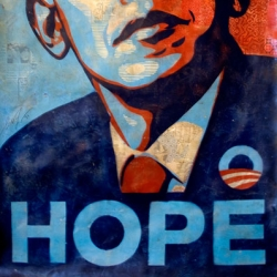 Shepard Fairey is auctioning off for charity what might be his only publicly available Obama Fine Art piece.  Current bid is $60,000.