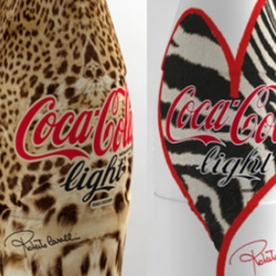 Roberto Cavalli designs 3 Coca Cola Light bottles for the Italian market.
