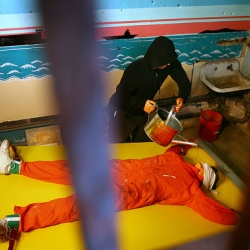 "Controversial waterboarding ""thrill ride"" art installation at Coney Island uses robots to show torture methods at Guantanamo Bay."
