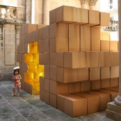 Back Side Flip 360° by O-S Architectes - cardboard boxes with a golden lining - temporary installation at Hotel Saint-Côme in Montpellier, as part of the Festival des Architectures Vives 08.