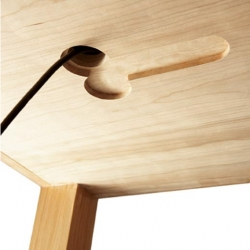 DJ Table by Cocoon for Red Bull ~ hilarious details tucked into this seemingly simple wood table