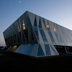 SHL Architects designed the new NRGi's Headquarters  in Denmark. A tilted building with an iconic façade.