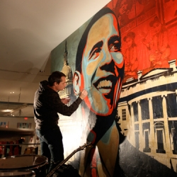 First look at Manifest Hope: DC ~ the art is pretty incredible ~ in this post you can see an overview of the art, the space, and the madness ~ here's shepard fairey touching up the piece on stage before opening!