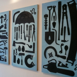Dan Funderburgh's Tool Wall is awesome ~ made of painted and laser cut chip board