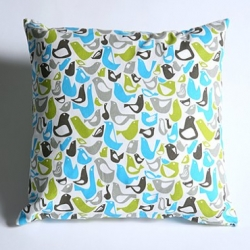 Cute! Tweet cotton canvas feather-filled pillow, designed by French artist Chris Bettig in LA, with allover bird pattern. Removable cover with hidden zipper makes washing a breeze.